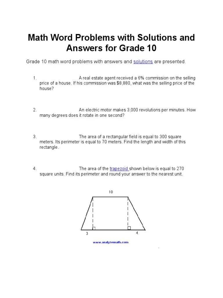 hight resolution of Math Word Problems With Solutions and Answers for Grade 10   Rectangle    Geometry