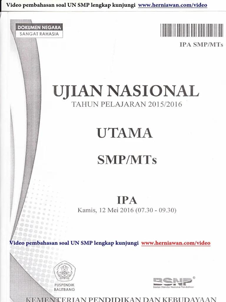 Soal Un Ipa 2016 Smp : Download, Pembahasan