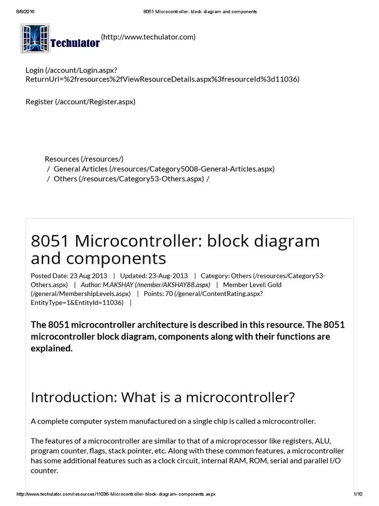 8051 microcontroller block diagram and components microcontroller digital electronics [ 768 x 1024 Pixel ]