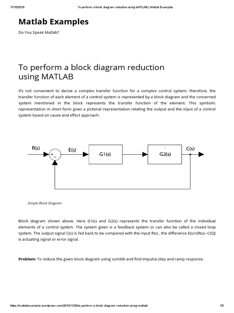 small resolution of to perform a block diagram reduction using matlab matlab examples control system feedback