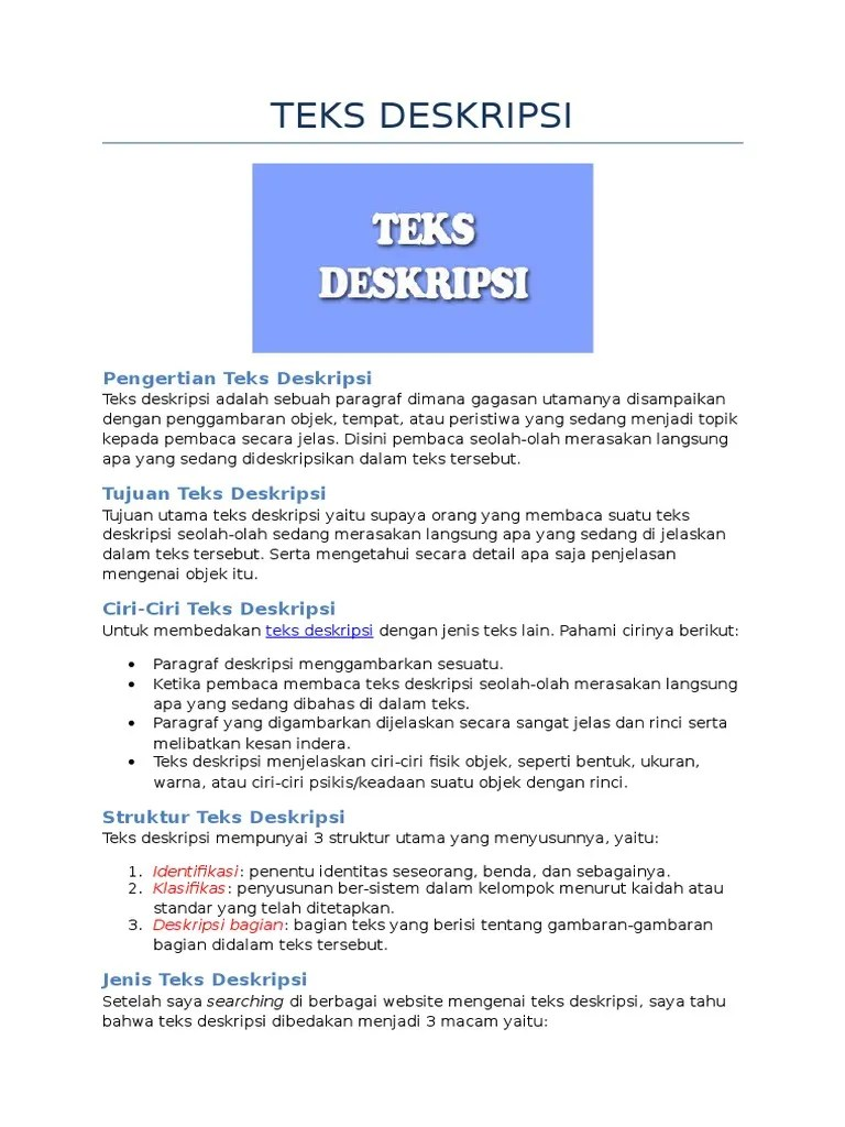 Jelaskan Pengertian Teks Deskripsi : jelaskan, pengertian, deskripsi, Penjelasan, Deskripsi, (Lengkap)