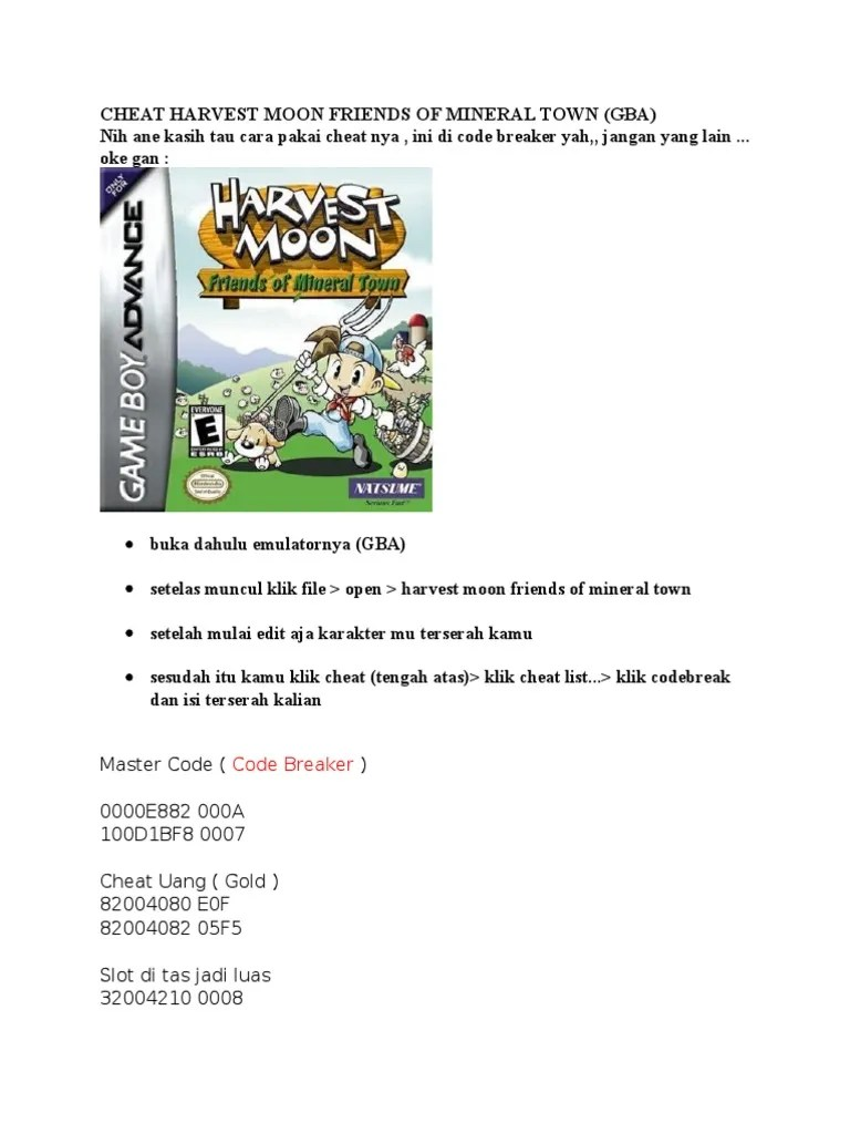 Cheat Harvest Moon Friends Of Mineral Town : cheat, harvest, friends, mineral, Cheat, Harvest, Friends, Mineral