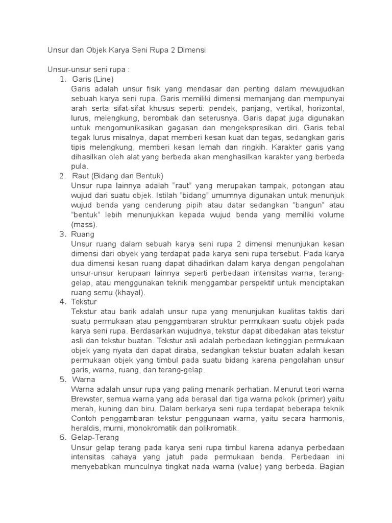 Unsur Dan Objek Karya Seni Rupa : unsur, objek, karya, Unsur, Objek, Karya, Dimensi