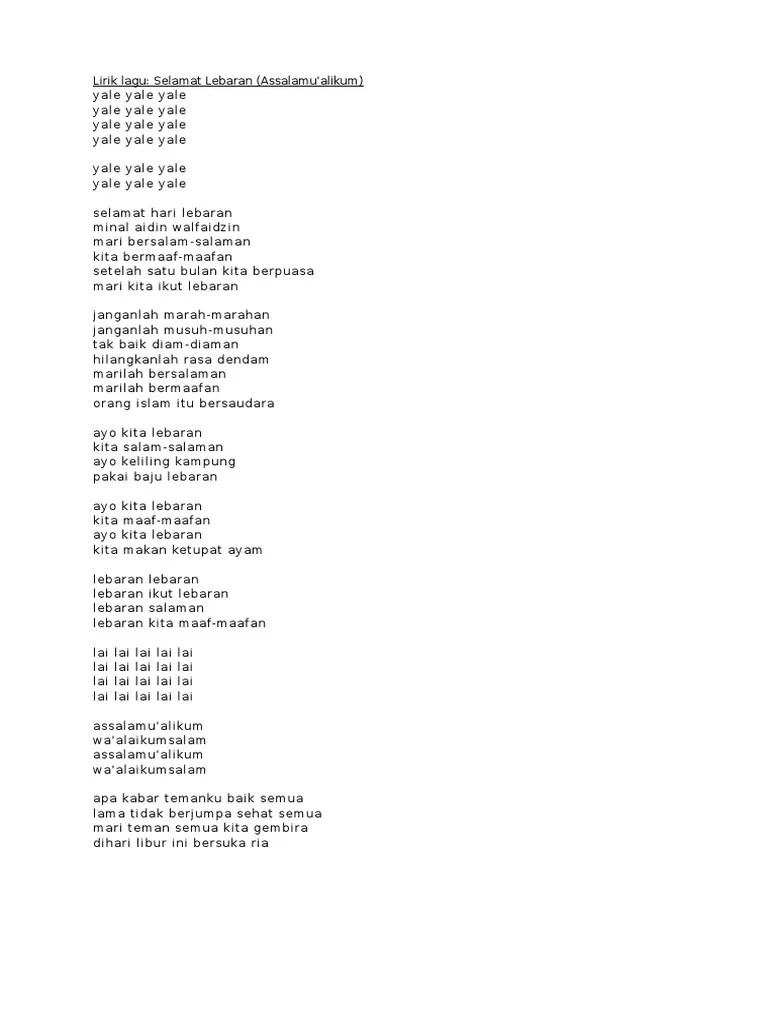 Lirik Lagu Selamat Hari Lebaran : lirik, selamat, lebaran, Lirik, Halal, Bihalal