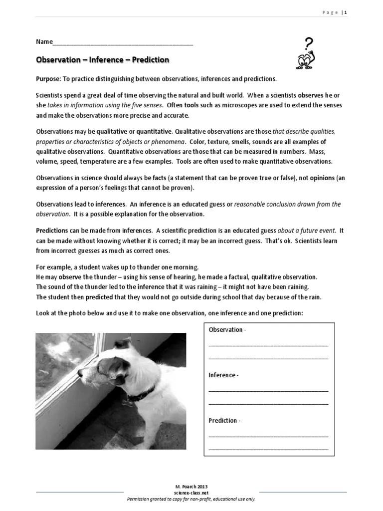 medium resolution of obs inf worksheet 2013   Inference   Observation
