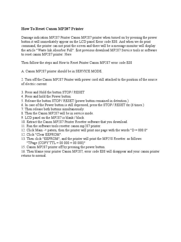 Service Tool Mp287 : service, mp287, Reset, Canon, MP287, Printer, (Computing), Office