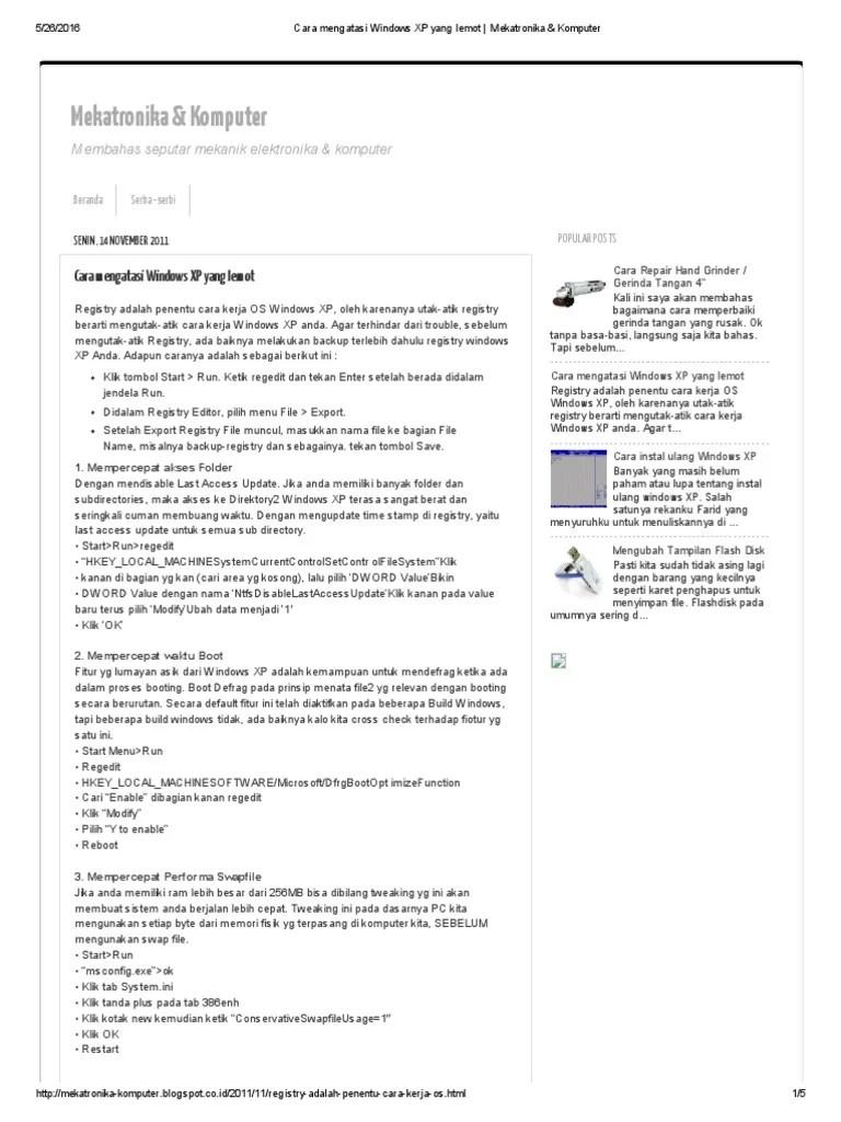 Berita dan Informasi Cara mengatasi laptop lemot tanpa