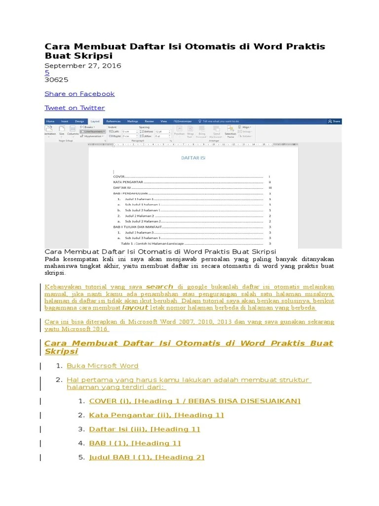 Membuat Daftar Isi Otomatis Word 2013 : membuat, daftar, otomatis, Membuat, Daftar, Untuk, Skripsi, Kumpulan, Berbagai