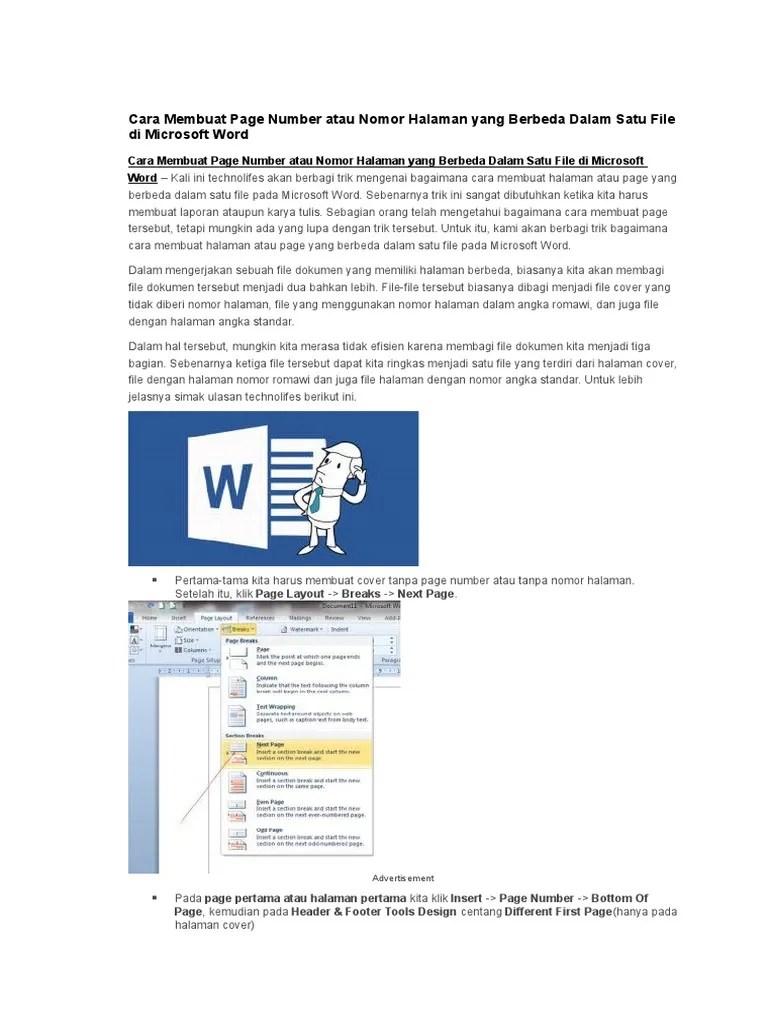 Cara Membuat Header Hanya Pada Halaman Pertama : membuat, header, hanya, halaman, pertama, Membuat, Nomor, Halaman, Berbeda, Dalam