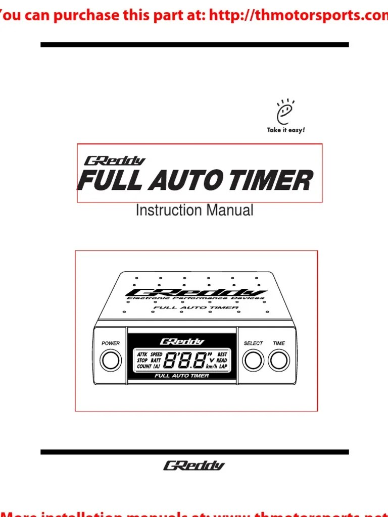 medium resolution of greddy full auto turbo timer manual manual transmission sub and amp wiring diagram greddy turbo timer