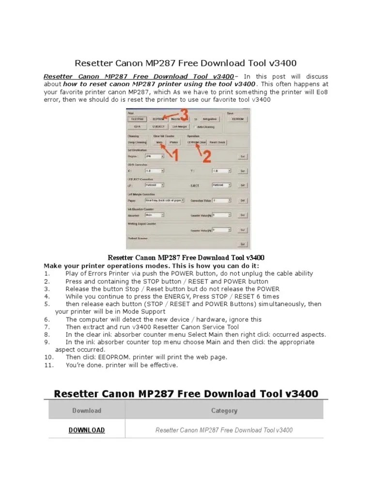 Service Tool Mp287 : service, mp287, Resetter, Canon, MP287, Download, V3400, Printer, (Computing), Office, Equipment
