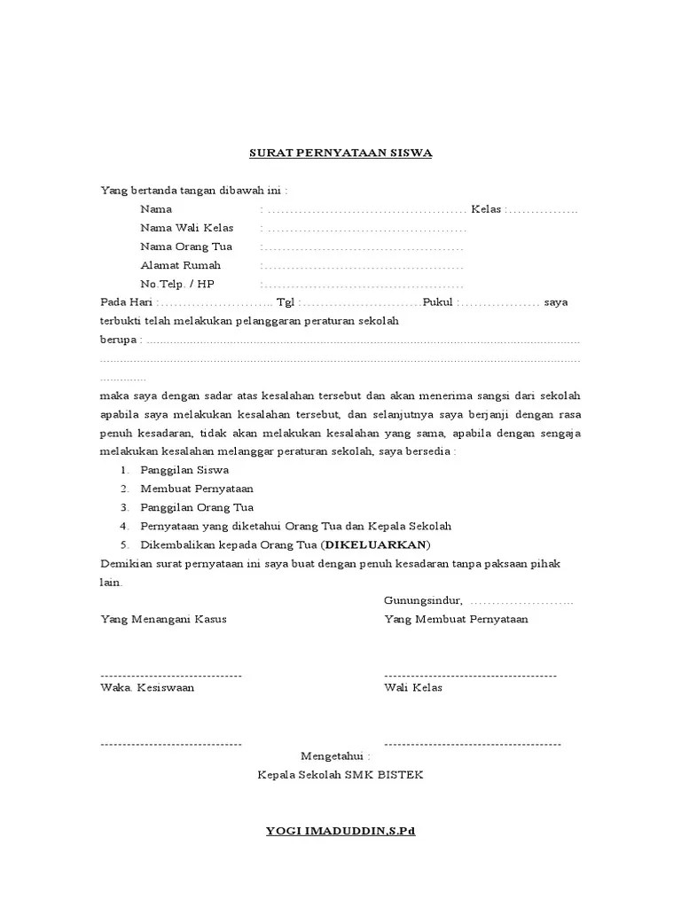 Surat Pernyataan Siswa : surat, pernyataan, siswa, 231661539-Surat-Pernyataan-Siswa.doc