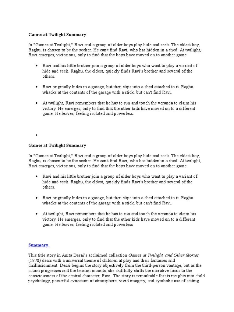 Games At Twilight Summary Docx Narration Mind