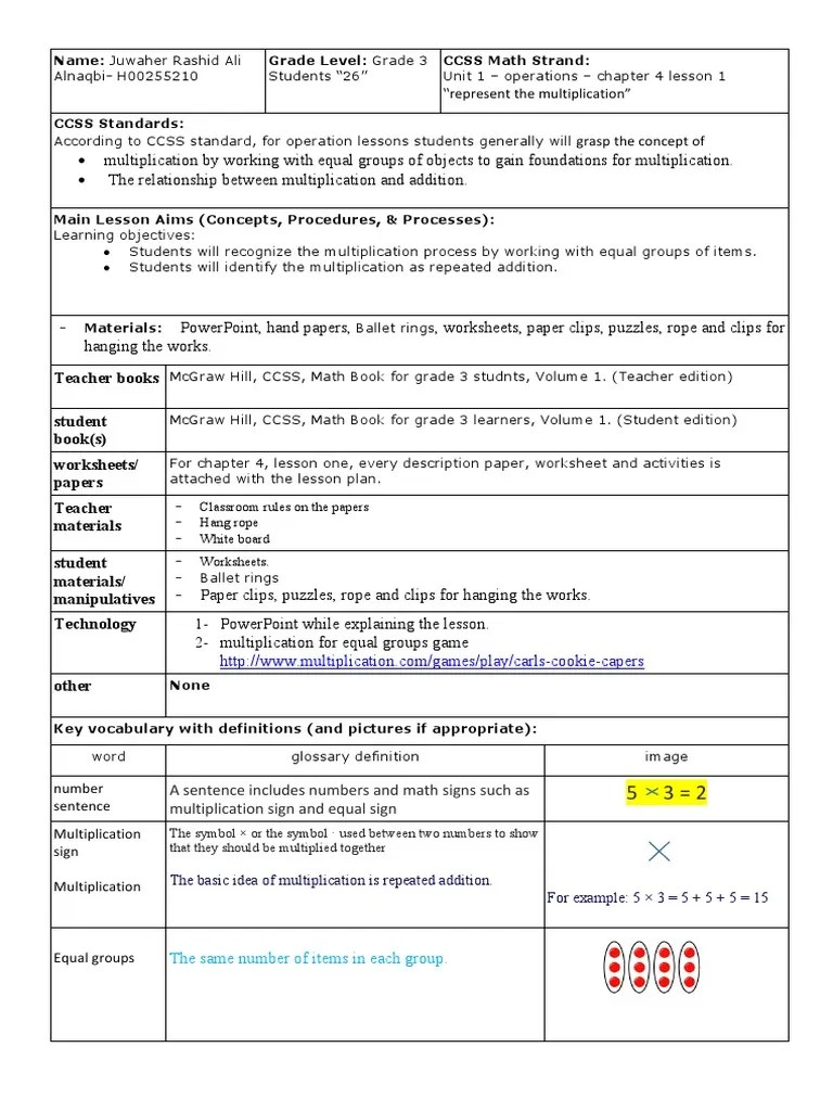 multiplication lesson plan repeated addition   Worksheet   Lesson Plan [ 1024 x 768 Pixel ]