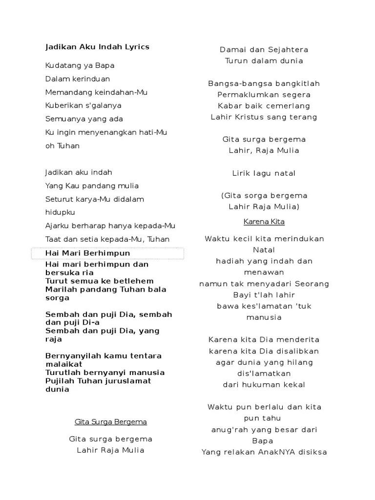 Jadikan Aku Indah Lirik : jadikan, indah, lirik, Jadikan, Indah, Lyrics