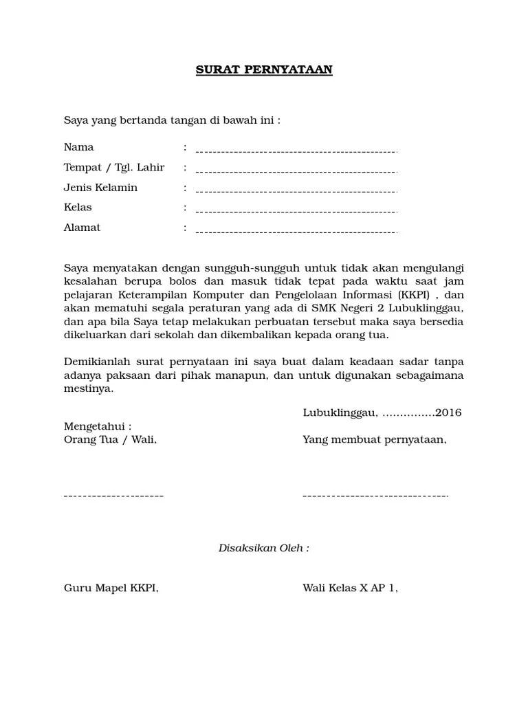 Surat Pernyataan Siswa : surat, pernyataan, siswa, Contoh, Surat, Pernyataan, Tidak, Melakukan, Pelanggaran, Siswa
