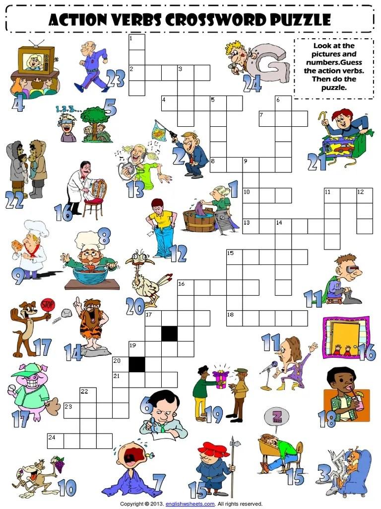 action verbs esl vocabulary crossword puzzle worksheet for kids [ 1024 x 768 Pixel ]