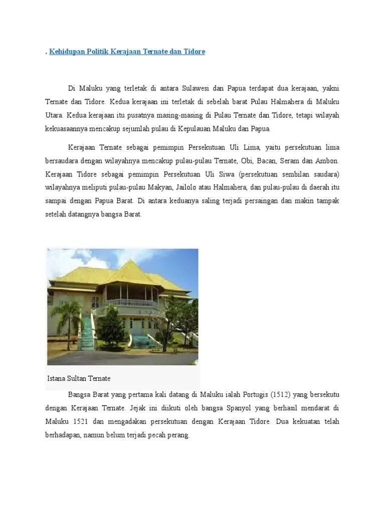 Sejarah Lengkap Kerajaan Ternate dan Tidore | Berkas Ilmu