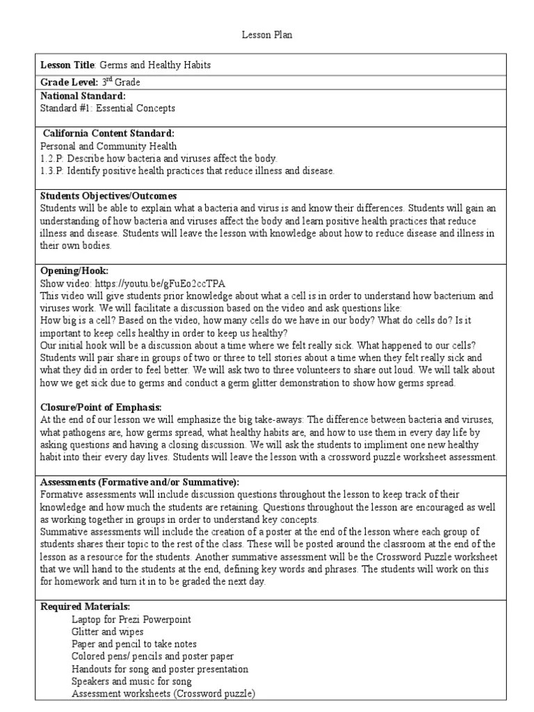 medium resolution of germs and healthy habits 3rd grade   Pathogen   Educational Assessment