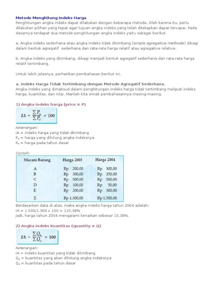 Contoh Soal Indeks Harga : contoh, indeks, harga, Contoh, Indeks, Harga, Agregatif, Sederhana, Berbagi, Kumpulan