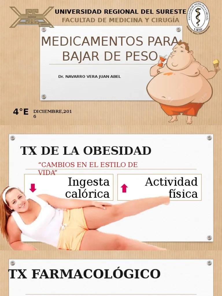 MEDICAMENTOS PARA BAJAR DE PESO.pptx   Obesidad ...