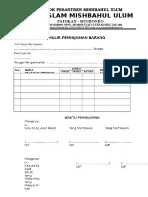 Buku Peminjaman Barang : peminjaman, barang, Peminjaman, Barang, Inventaris, Sekolah, Bagikan, Contoh