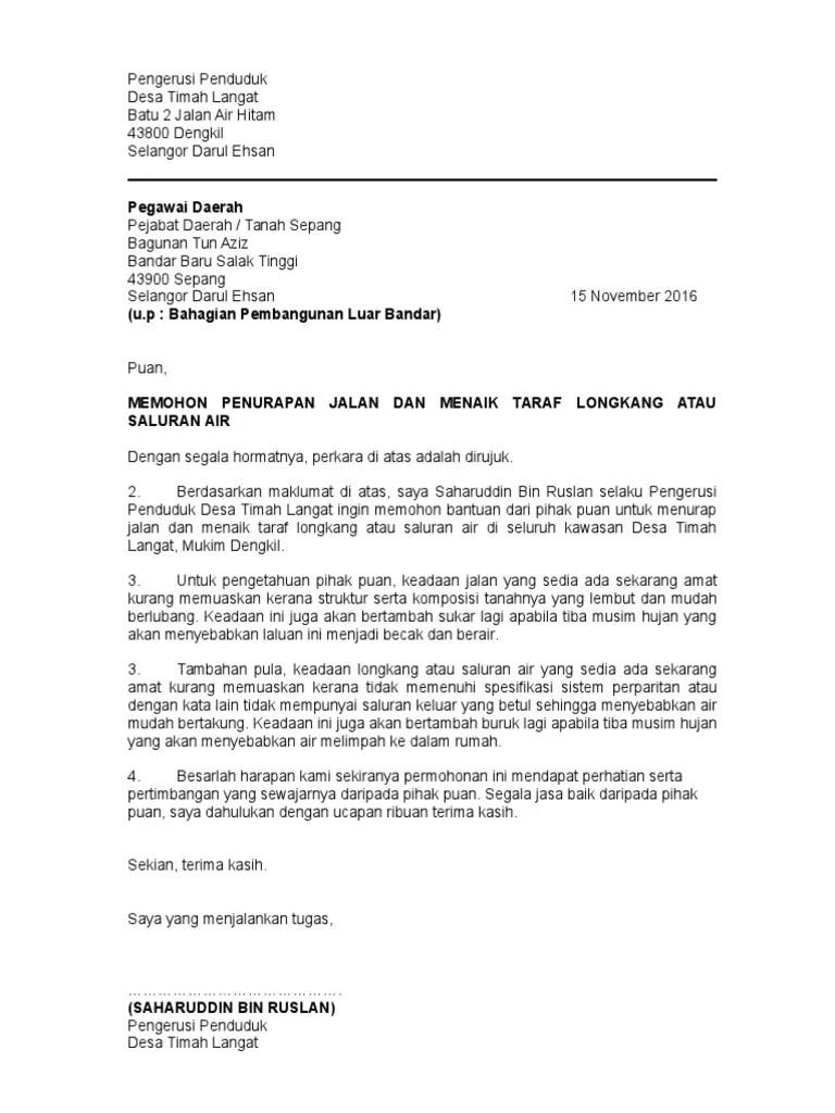 Contoh Surat Mohon Naiktaraf Tandas Surat Baik Pulih Contoh Surat Memohon Sumbangan Derma Pembangunan Surau Alfirdaus Taman Garing Utama Rawang Selangor Sporty Looking Cars