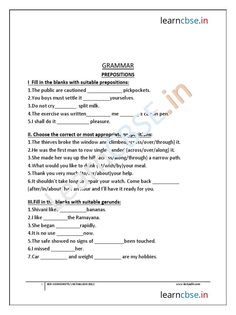 hight resolution of Preposition Worksheets For Grade 5 Cbse - hrzus