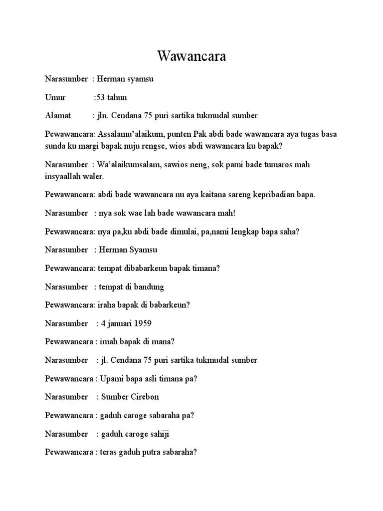 Contoh Wawancara Bahasa Sunda : contoh, wawancara, bahasa, sunda, Wawancara, Sunda
