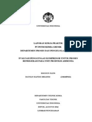 Departemen Teknik Kimia Ui : departemen, teknik, kimia, Laporan, Kerja, Praktek, Rayhan, Hafidz, Teknik, Kimia, Petrokimia, Gresik, Departemen