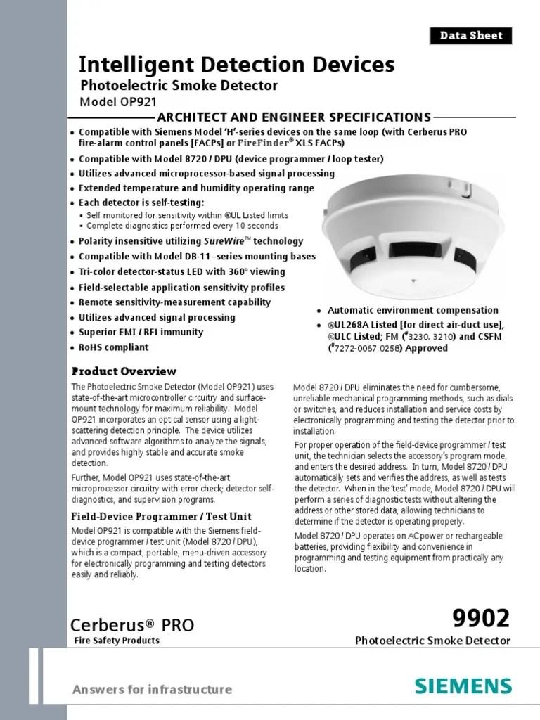 small resolution of 2 op921 optical smoke detector siemens light emitting diode sensor