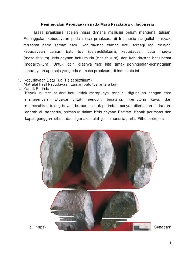 Peninggalan Kebudayaan Pacitan : peninggalan, kebudayaan, pacitan, Peninggalan, Kebudayaan, Praaksara, Indonesia