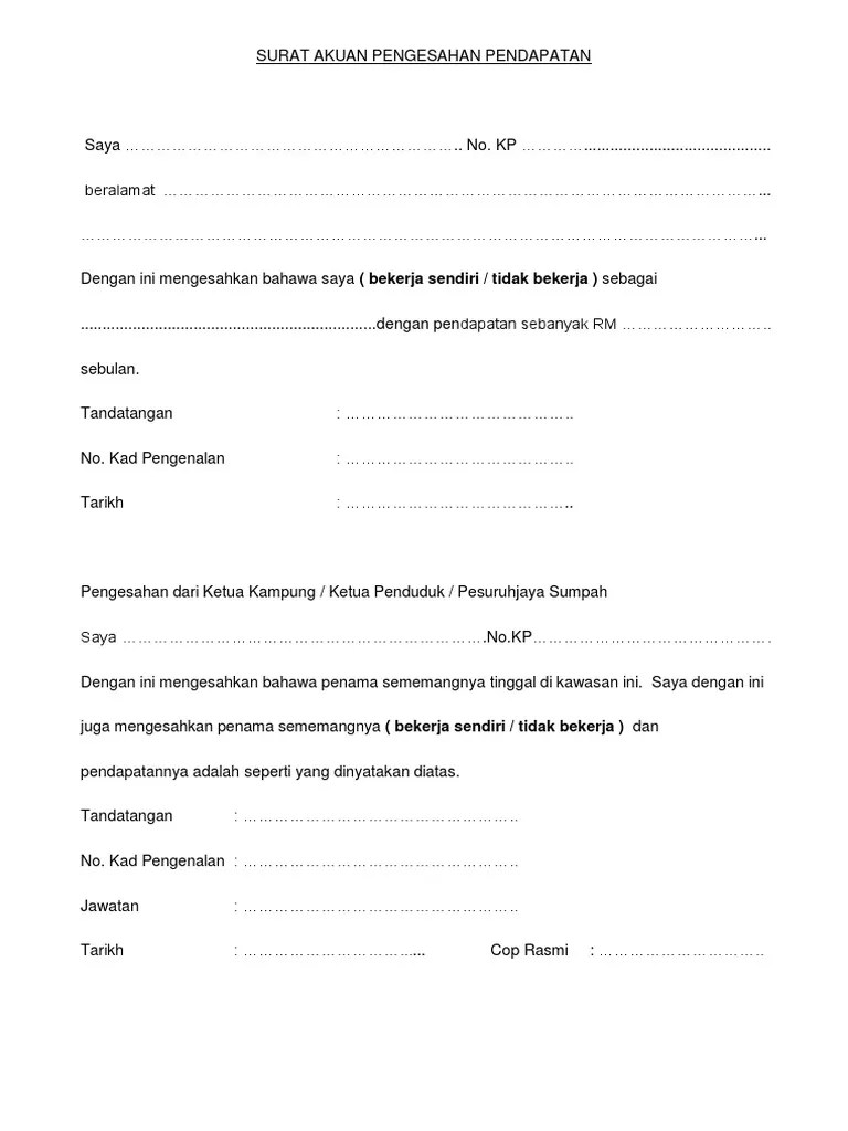 Surat Akuan Pengesahan Pendapatan Cute766