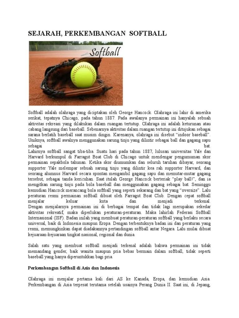 Softball │ Pengertian Softball , Sejarah, Teknik Dasar
