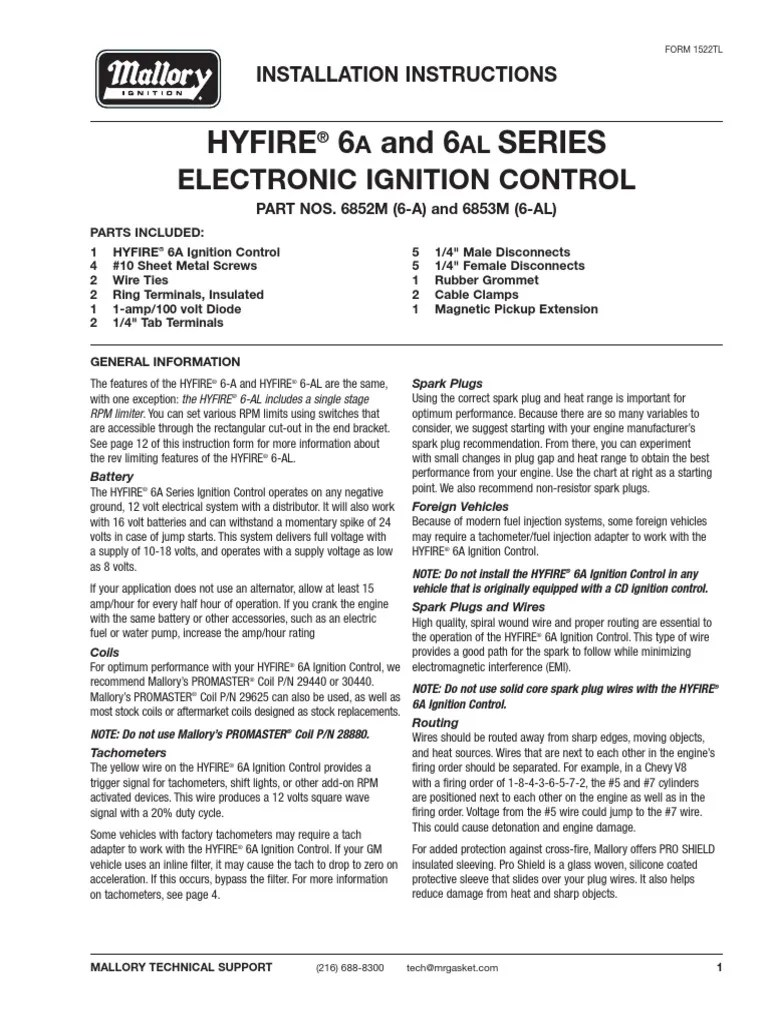 medium resolution of mallory instructions hyfire 206a 6al wiring diagram 6852m 6853m 0001 ignition system distributor