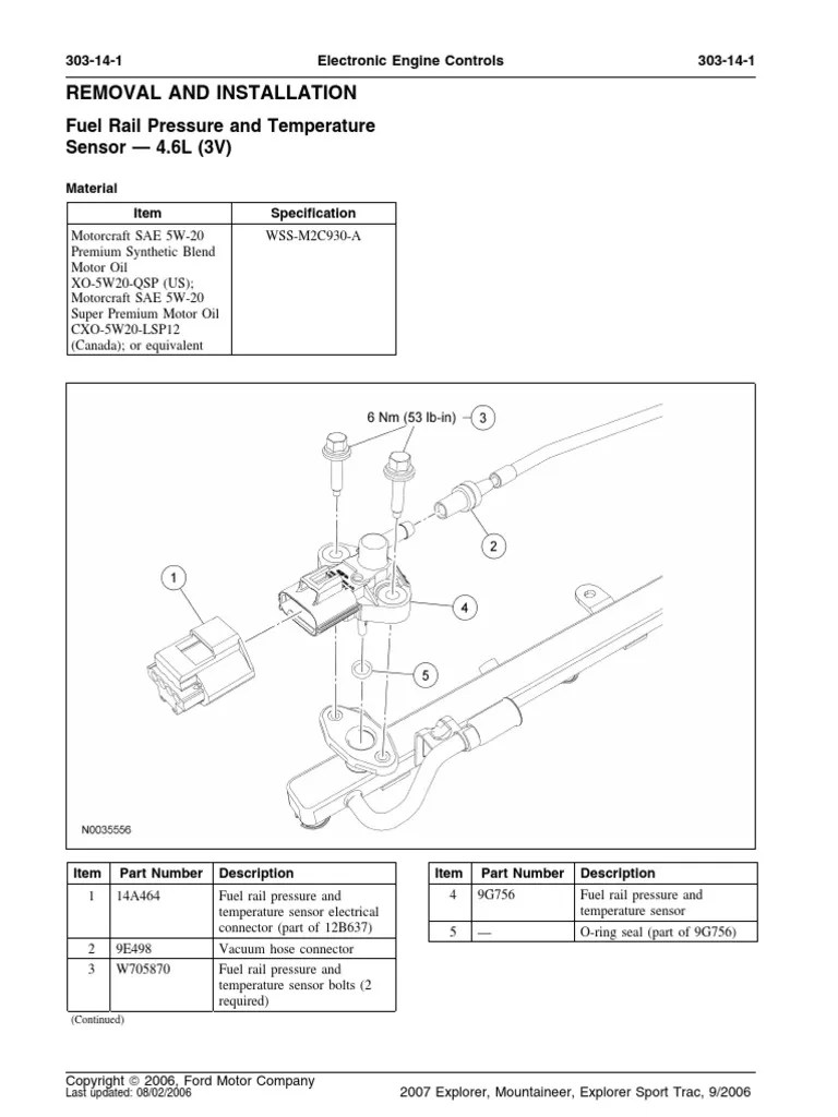 medium resolution of fuel rail pressure and temperature sensor 8212 4 6l 3v removal and installation pdf motor oil electrical connector