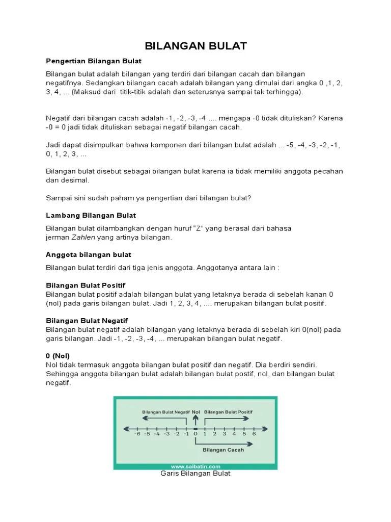 Pengertian Bilangan Bulat : pengertian, bilangan, bulat, Bilangan, Bulat