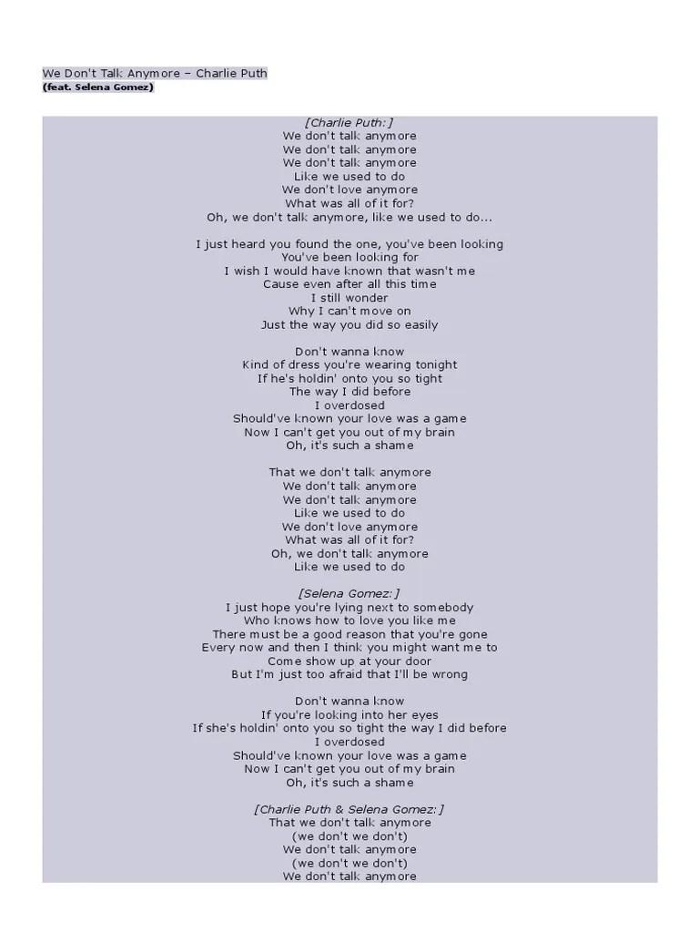 We Dont Talk Anymore Lirik : anymore, lirik, Lyric, Anymore, Goreng