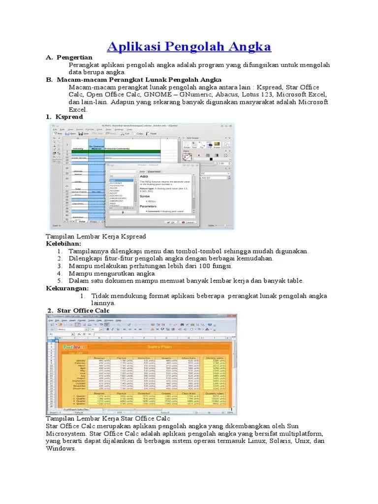 Pengertian Kspread : pengertian, kspread, Aplikasi, Pengolah, Angka