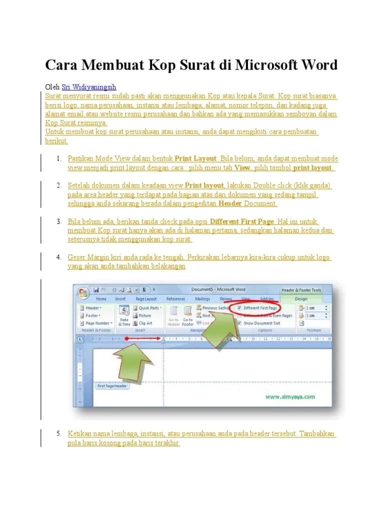 Cara Membuat Garis Untuk Kop Surat : membuat, garis, untuk, surat, Membuat, Surat, Microsoft