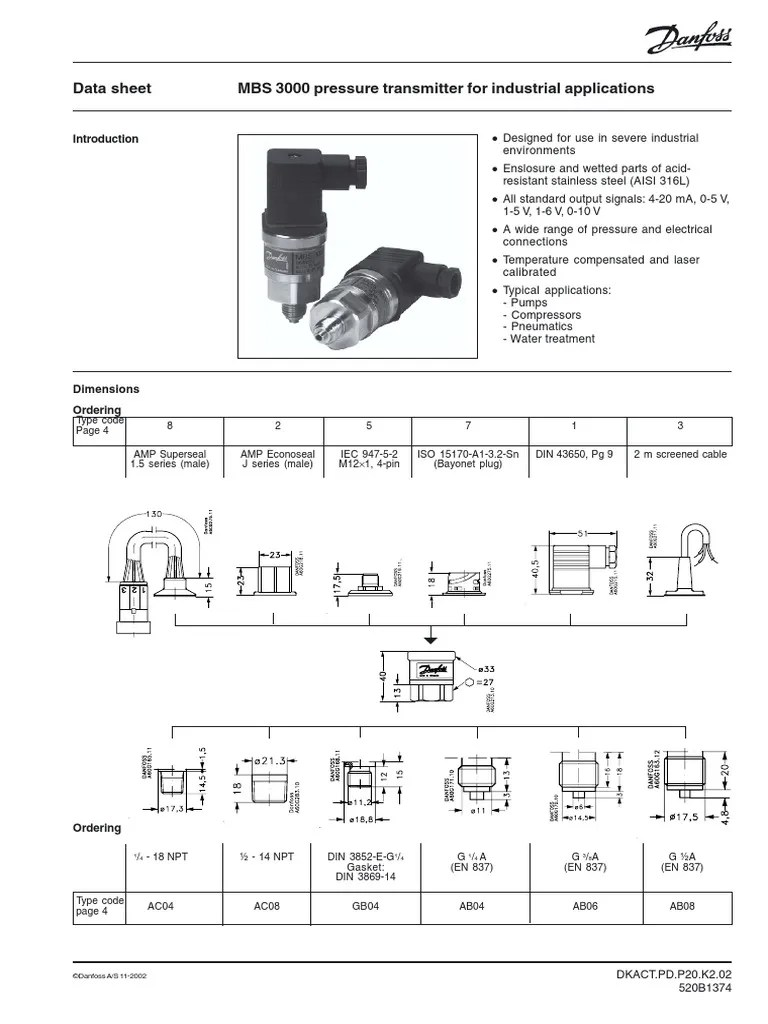 danfoss pressure transmitter mbs 3000 wiring diagram weber 40 idf parts press trans electromagnetic compatibility electrical connector