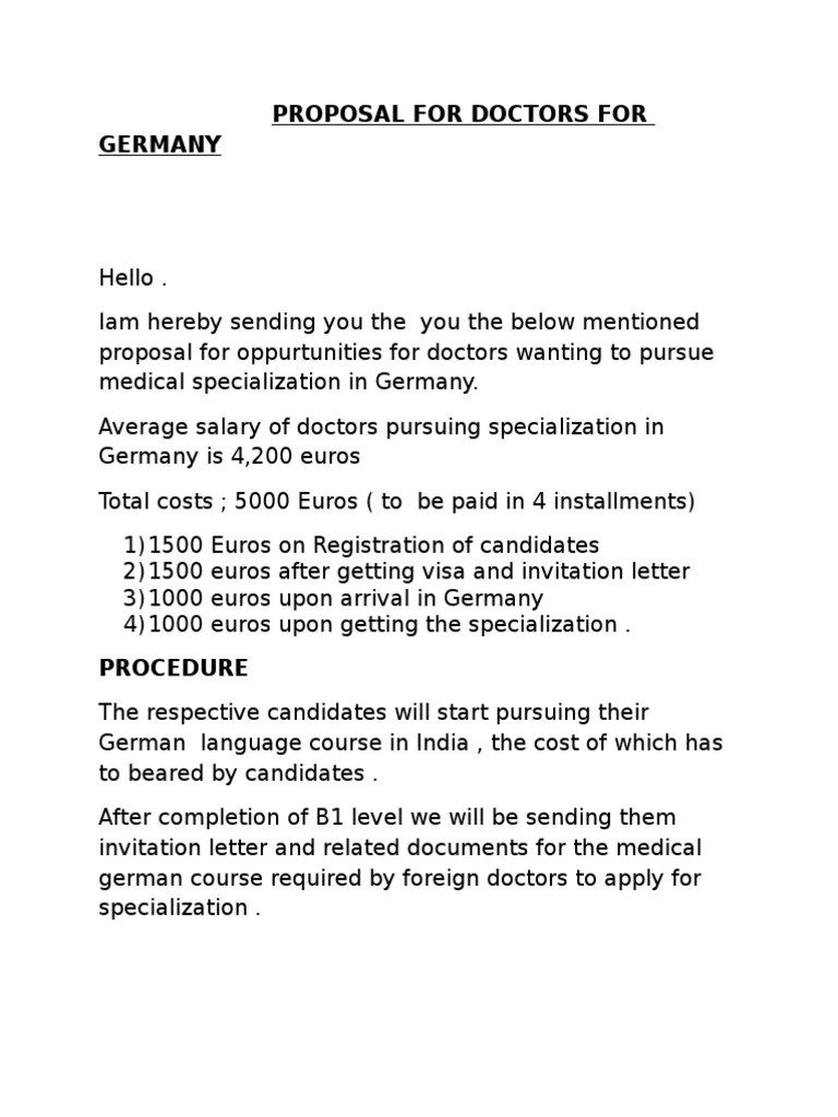 proposal for doctors for germany