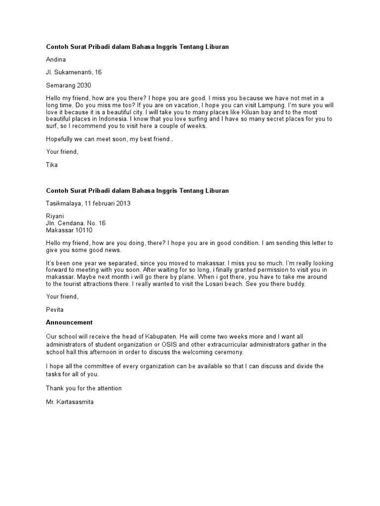 Surat Pribadi Bahasa Inggris : surat, pribadi, bahasa, inggris, Contoh, Surat, Pribadi, Dalam, Bahasa, Inggris, Tentang, Liburan