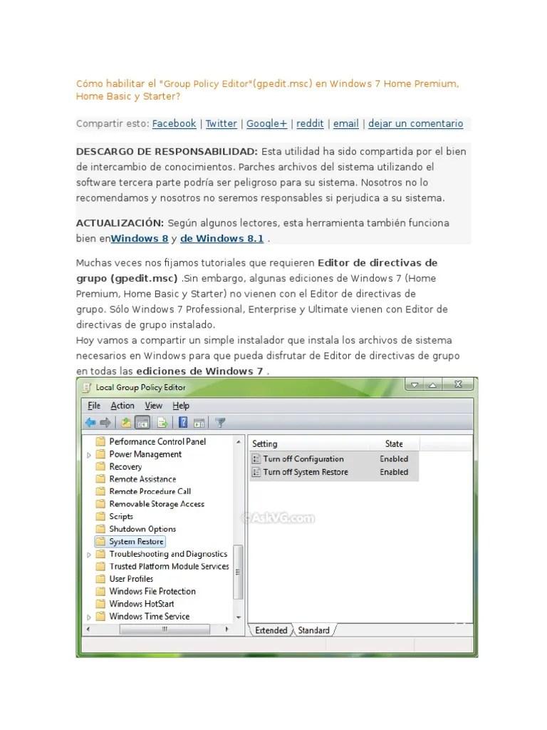 Cómo Habilitar El - Group Policy Editor - (Gpedit.msc)   Windows 7   Microsoft Windows