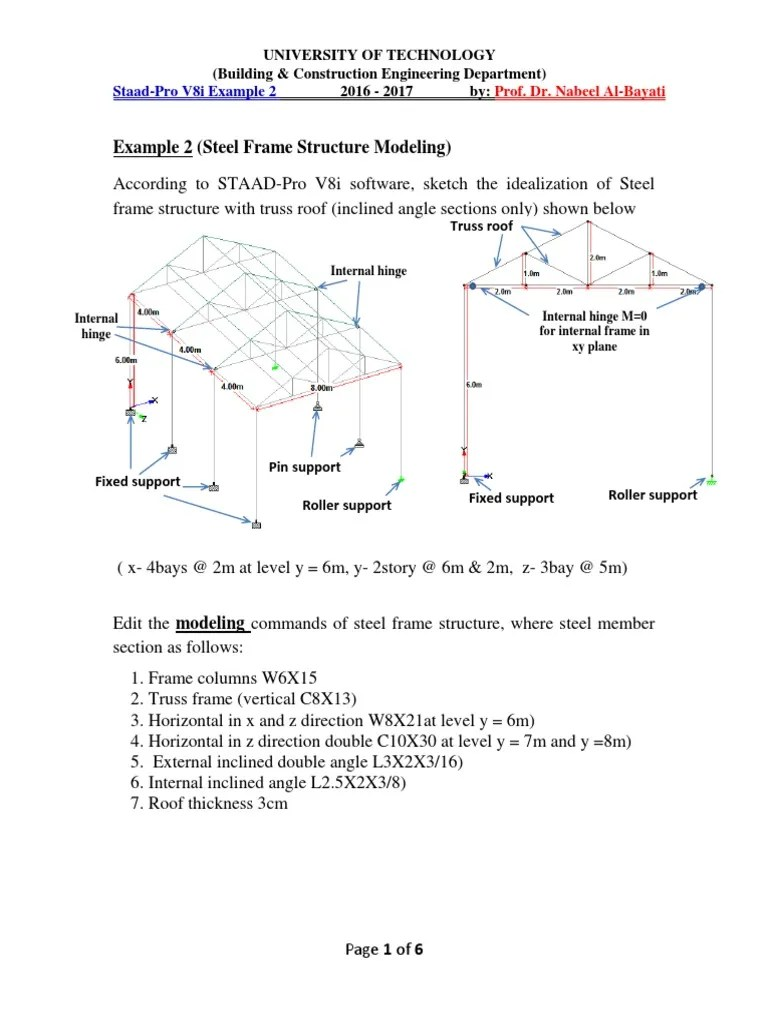 steel frame structure modeling by staad pro example 2 by prof dr nabeel al bayati framing construction truss [ 768 x 1024 Pixel ]