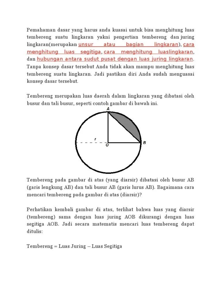 Luas Tembereng Lingkaran : tembereng, lingkaran, Pemahaman, Dasar, Harus, Kuasai, Untuk, Menghitung, Tembereng, Suatu, Lingkaran, Yakni, Pengertian