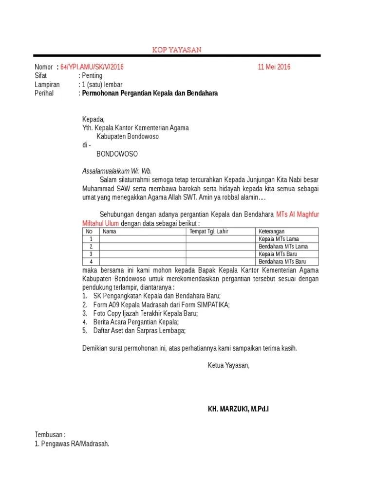Surat Permohonan Pergantian Kepala Sekolah : surat, permohonan, pergantian, kepala, sekolah, Contoh, Surat, Permohonan, Perubahan, Specimen, Tanda, Tangan