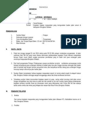Contoh Laporan Informasi Audit Kinerja