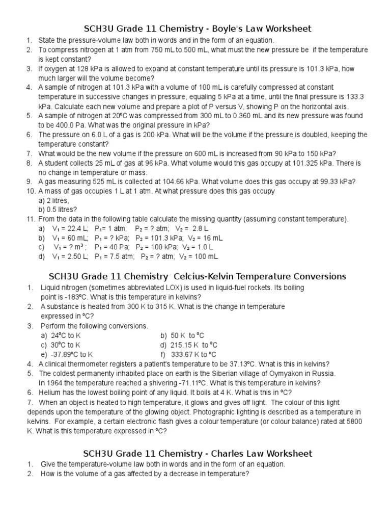 small resolution of GasLawsWorksheetsandSolutions (1)   Gases   Litre