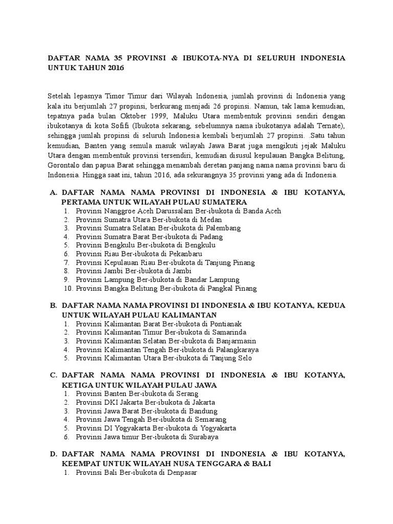 Nama Provinsi Di Pulau Jawa : provinsi, pulau, Daftar, Provinsi